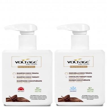shampoo y mascarilla choco-terapia. Activa y estimula todas las funciones capilares